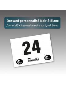 Dossard personnalisé 21*21cm noir et blanc